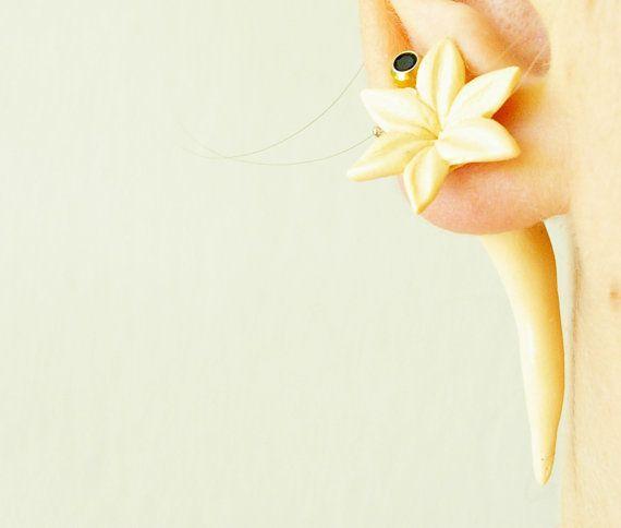 Pair of Real Custom Gauges Plugs 8g, 6g, 5g, 4g, 2g, 0g, 00g, 7/16, 1/2, 9/16, 5/8, 3/4, 7/8, 1 inch earrings beige flower polymer clay