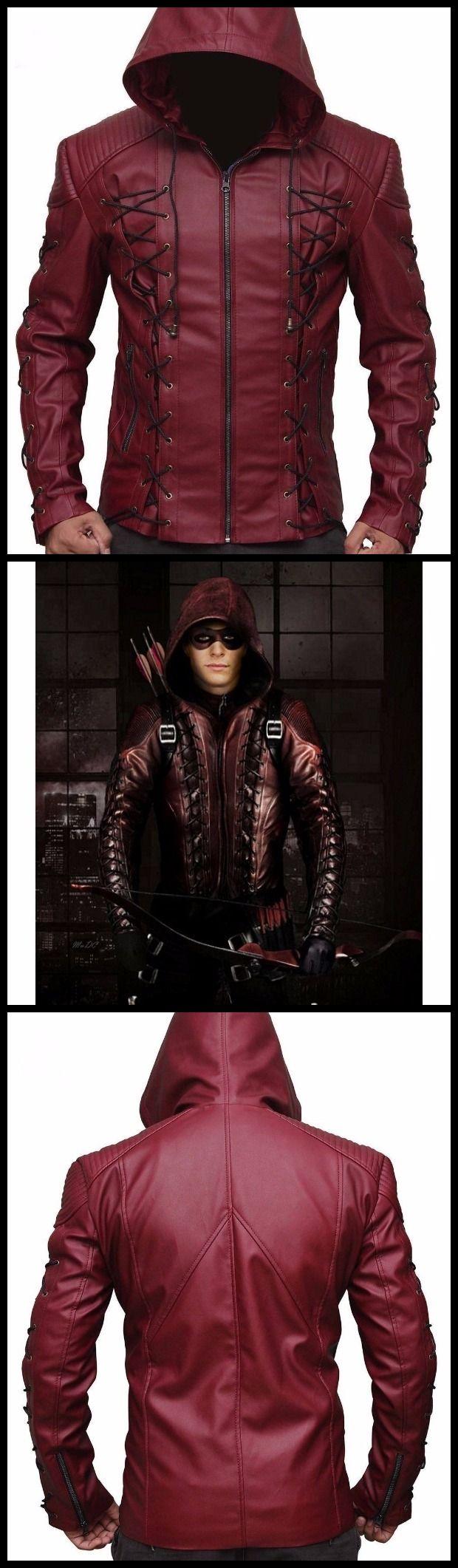 Arrow arsenal season 3 roy harper colton haynes hooded maroon leather jacket