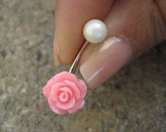 Pearl Pink Rose Belly Button Ring Jewelry Stud Navel Piercing Bar Barbell Flower Bud Rosebud