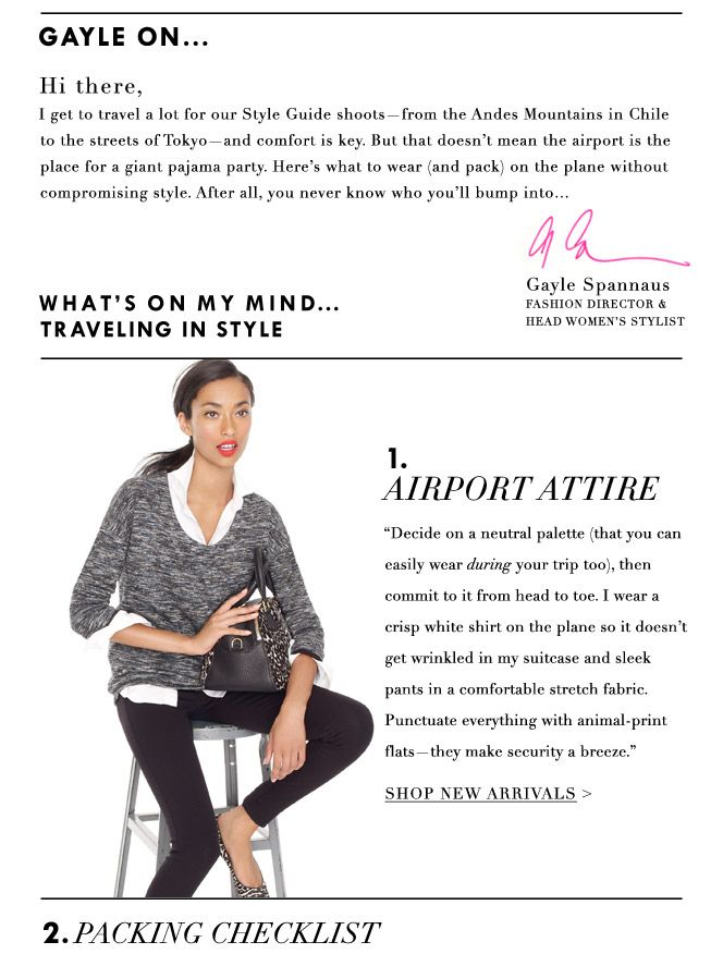 travel attire tips from Gayle Spannaus styling with J.Crew.