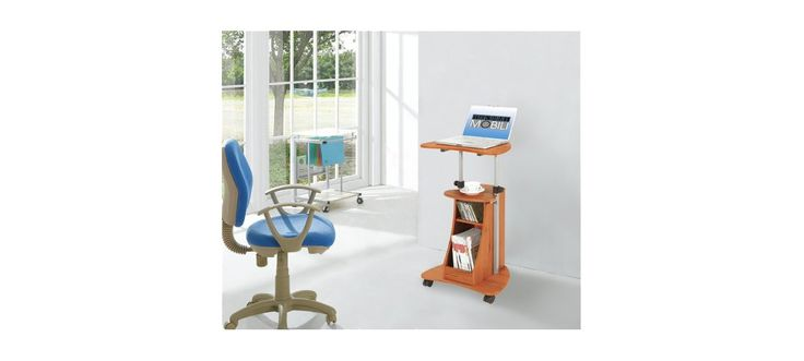Techni Mobili Mobile Notebook Computer Cart with Storage - Wood Grain