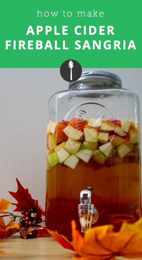 How to make apple cider fireball sangria for Halloween or fall parties.