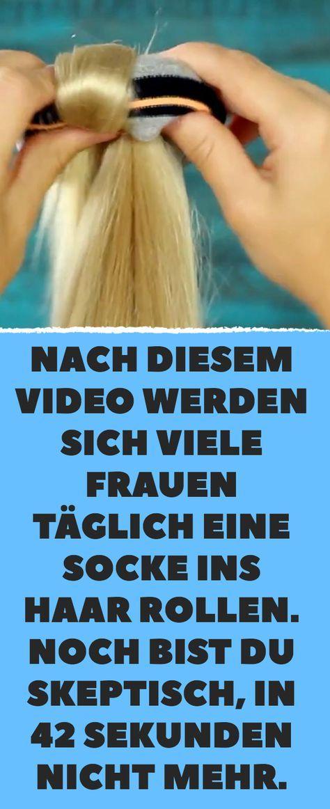 Nach diesem Video rollen sich viele Frauen jeden Tag eine Socke ins Haar. … – Haare