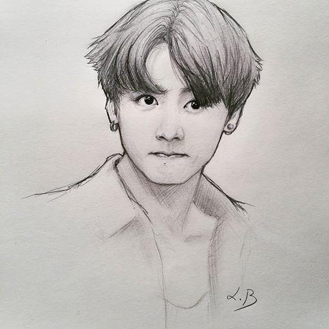Image Result For Jungkook Drawing | Tegninger | Pinterest | Tegninger Og Billedkunst