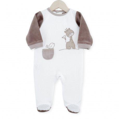 Dors bien bébé mixte en velours tout doux aux couleurs douces: blanc et gris perle