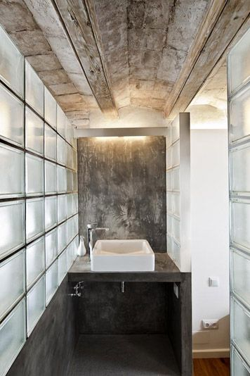 bathroom glass block polished concrete - Google Search