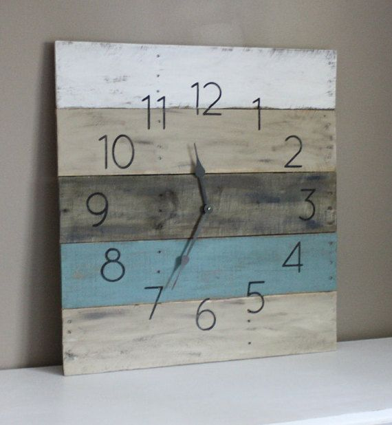 Welcome to the one and only terrafirma79 designs. Thank you for considering our artisan pallet wood clock shop for your home decor or gift giving needs. We made this beach inspired large 26 by 26 wood wall clock from forgotten pallet wood. We gave it new life. We can customize one for you too!  Here weve created a Beachy yet rustic wall clock made of recycled pallet wood! The main picture above has sold, but we can customize a very similar clock just for you!   ♥ ♥ ♥ Be sure to check out our…
