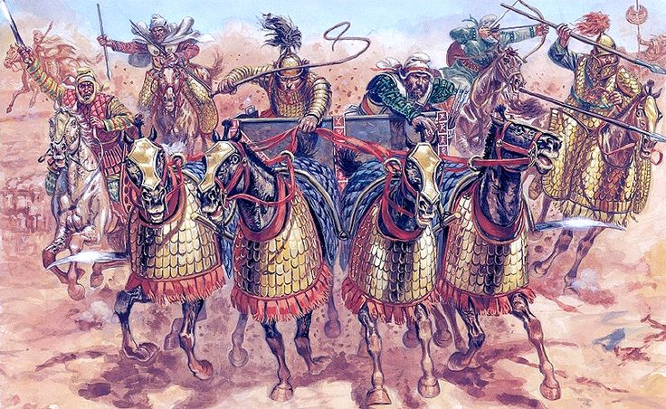 Achaemenid Persian war chariot and cavalry at the battle of Gaugamela, 331 BC. Artwork by Giuseppe Rava.