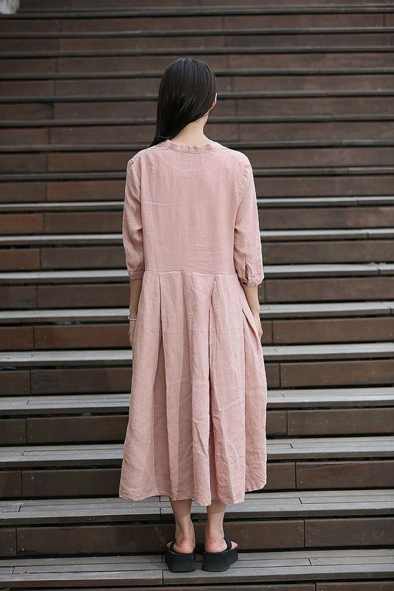 Ladies, slip on a day dress in this beautiful soft pink color. Youll always look amazing with a minimum of effort. This casual linen dress is both comfortable and stylish. In a loose-fitting flowing lagenlook style, this is a dress for any woman no matter what your size or shape is. Enjoy