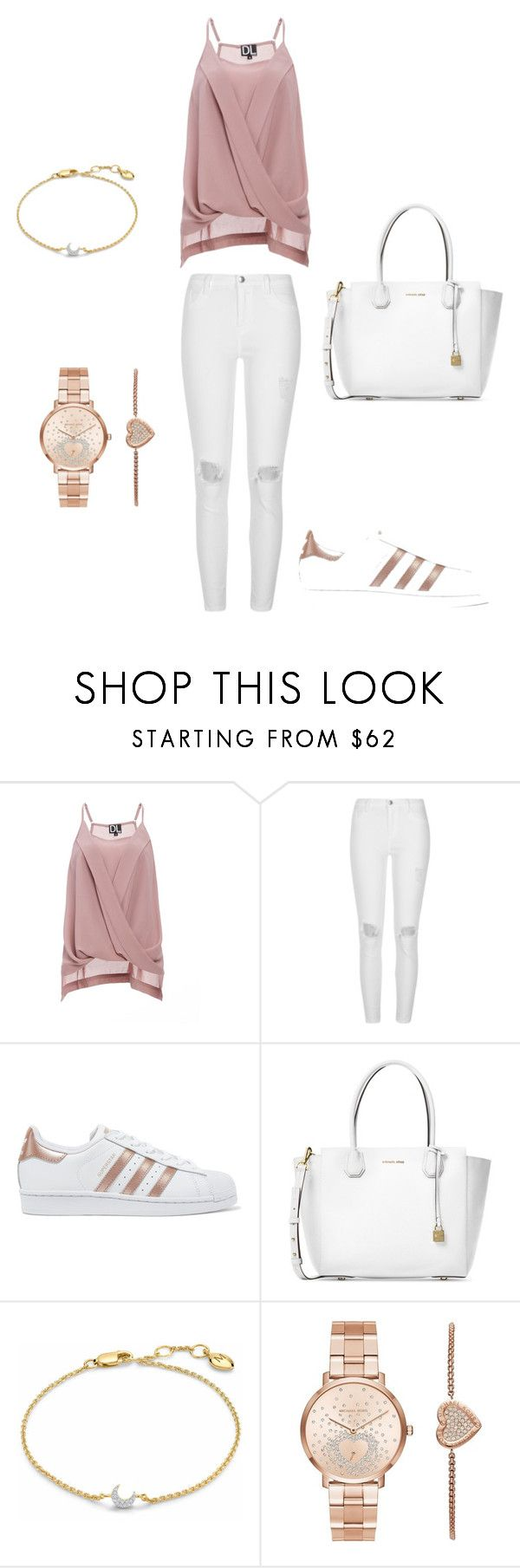 """Rose gold fever"" by stefi-m ❤ liked on Polyvore featuring DailyLook, River Island, adidas Originals, Michael Kors and Missoma"