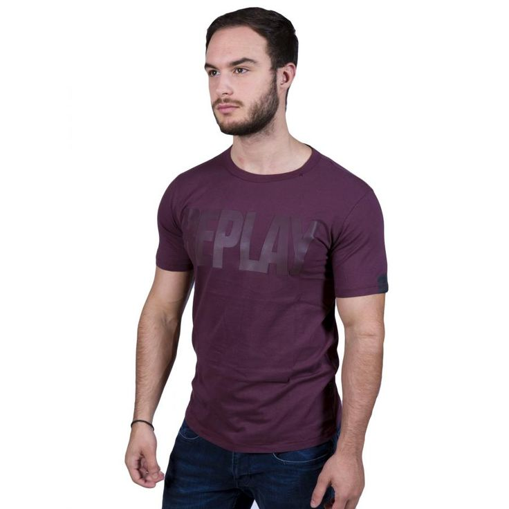 REPLAY Ανδρικό slim fit t-shirt, στάμπα δερματίνης