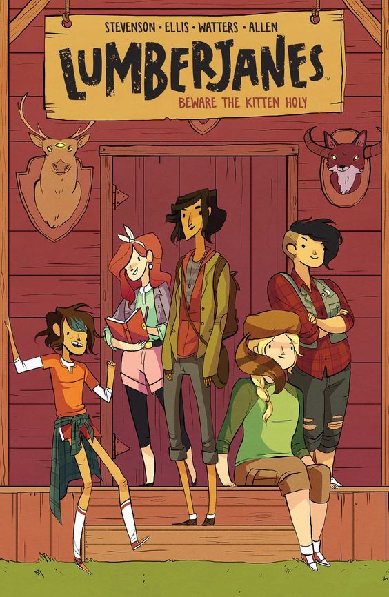 """Lumberjanes: Beware the Kitten Holy"", by Noelle Stevenson & Grace Ellis & Brooke Allen - At Miss Quinzella Thiskwin Penniquiqul Thistle Crumpet's camp for hardcore lady-types, things are not what they seem. Luckily, Jo, April, Mal, Molly and Ripley are five rad, butt-kicking best pals determined to have an awesome summer together."