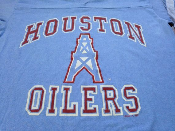 7e0d31d71 Vintage HOUSTON OILERS 1980s JERSEY T shirt  80s Logo 7 Made in UsA Tshirt   Football Fan Sports Jersey Tee Campbell