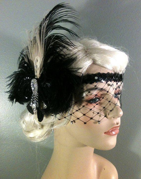 Flapper Headband,1920s Head Piece, Art Deco Headband, Peacock Feather, Black Ostrich Plumes, Black Sequins, Veil, Great Gatsby