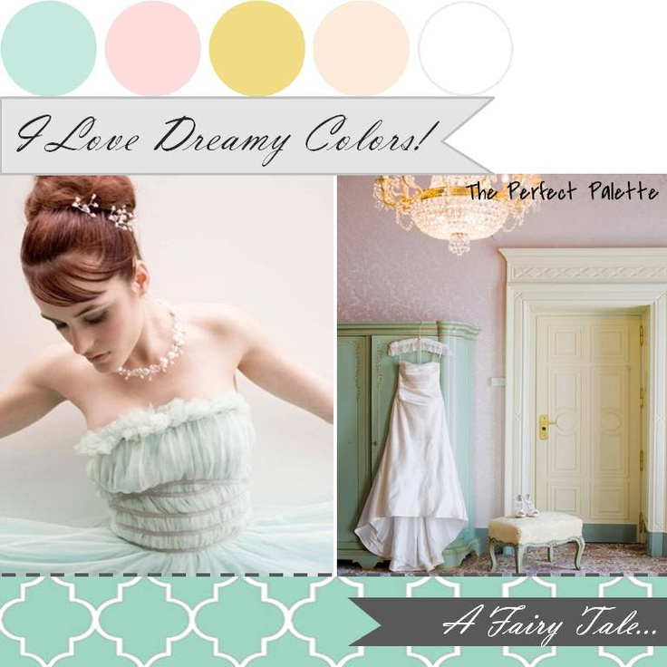 Dreamy ☛ http://su.pr/2MtGeJ. Mint or aqua, blush pink, yellow, and white. YES.