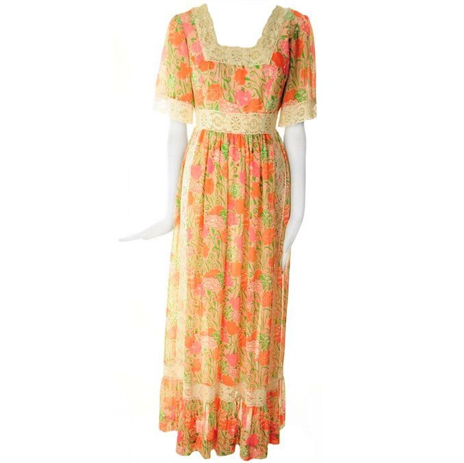 Rare 1968 Lilly Pulitzer 'The Lilly' Pink Floral Peasant Maxi Dress | 1stdibs.com