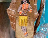 Vtg style handpainted pinup tie, 40's 50's style, trad tattoo hula hula girl Hawaiian dancer with ukele