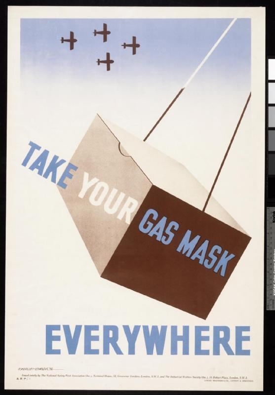 Take Your Gas Mask Everywhere, 1939; The public were urged by the government to carry their gas masks at all times, although it was not a legal requirement to do so. Initially, there were instances where workplaces sent home any employees who did not have their masks, and some places of entertainment refused to allow people to enter without them. During the Phoney War period – from 3 September 1939 to 10 May 1940 - many people stopped carrying their gas masks.