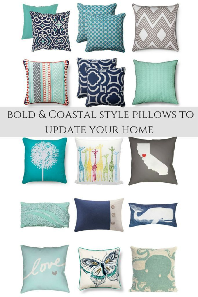 Home decorating ideas - Bold, Coastal beach style throw pillows ideas to update your home | ourhousenowahome....