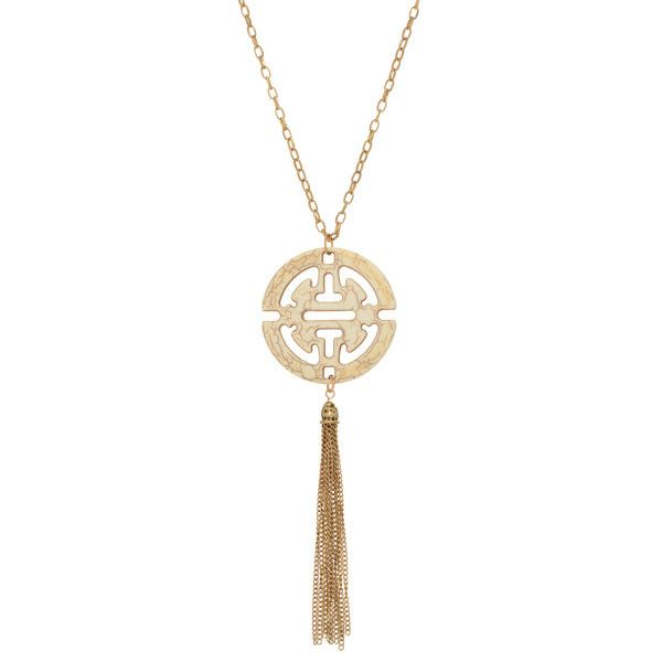The 25 best aztec pendants ideas on pinterest pirates of the radiant ivory and gold tassel aztec pendant necklace fashion jewelry mozeypictures Images