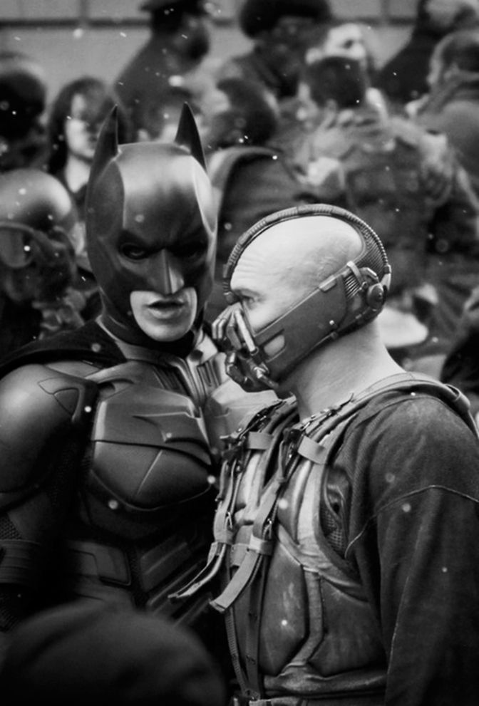 Christian Bale and Tom Hardy on the set of The Dark Knight Rises (2012)