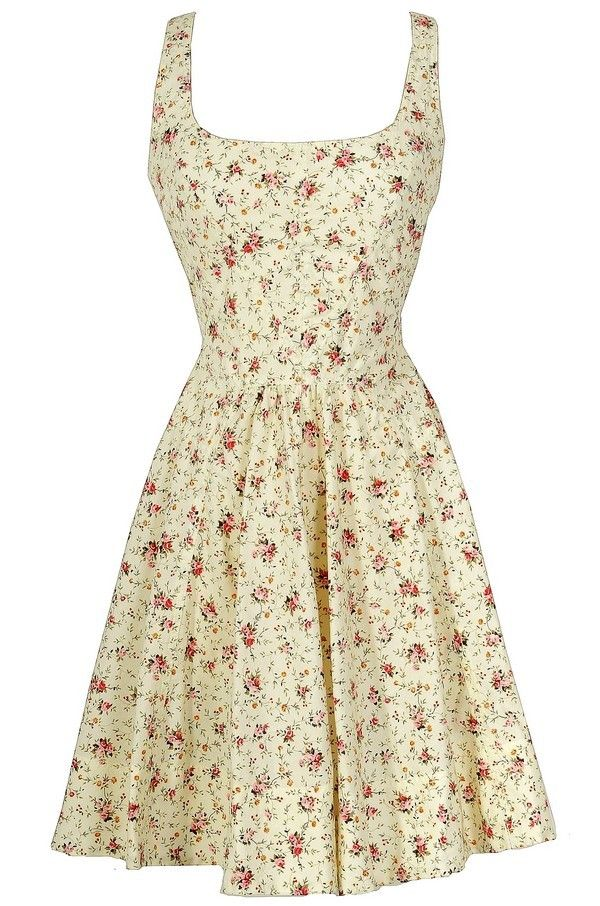 Shabby Chic Floral Fit and Flare Cotton Sundress in Ivory
