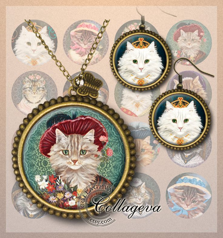 Cat Ladies Printable round images, Kitten Kitty Bonnet , Earrings Bracelet Charms, Digital Collage Sheet 20 18 16 14 12 mm circles (EA03-c) by collageva on Etsy