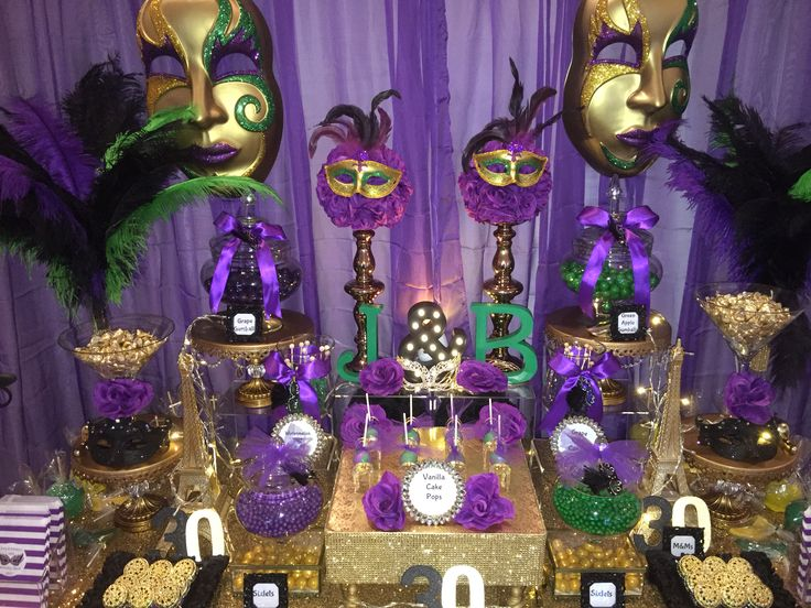 Birthday Masquerade Party Candy Buffet In Purple Green
