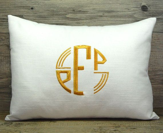Monogrammed Pillow Decorative Throw Pillow Cover Modern Deco Font Personalized Home Decor 12