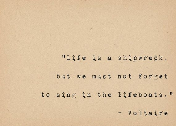 "Voltaire quote: ""Life is a shipwreck..."" by foxedprints on Etsy"