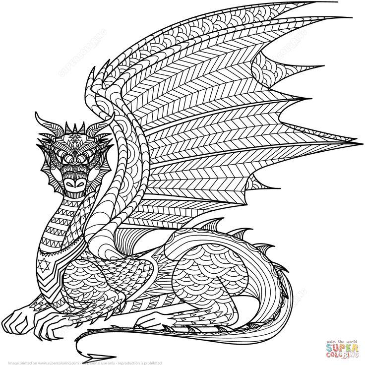 dragon zentangle | super coloring | ausmalbilder, mandala
