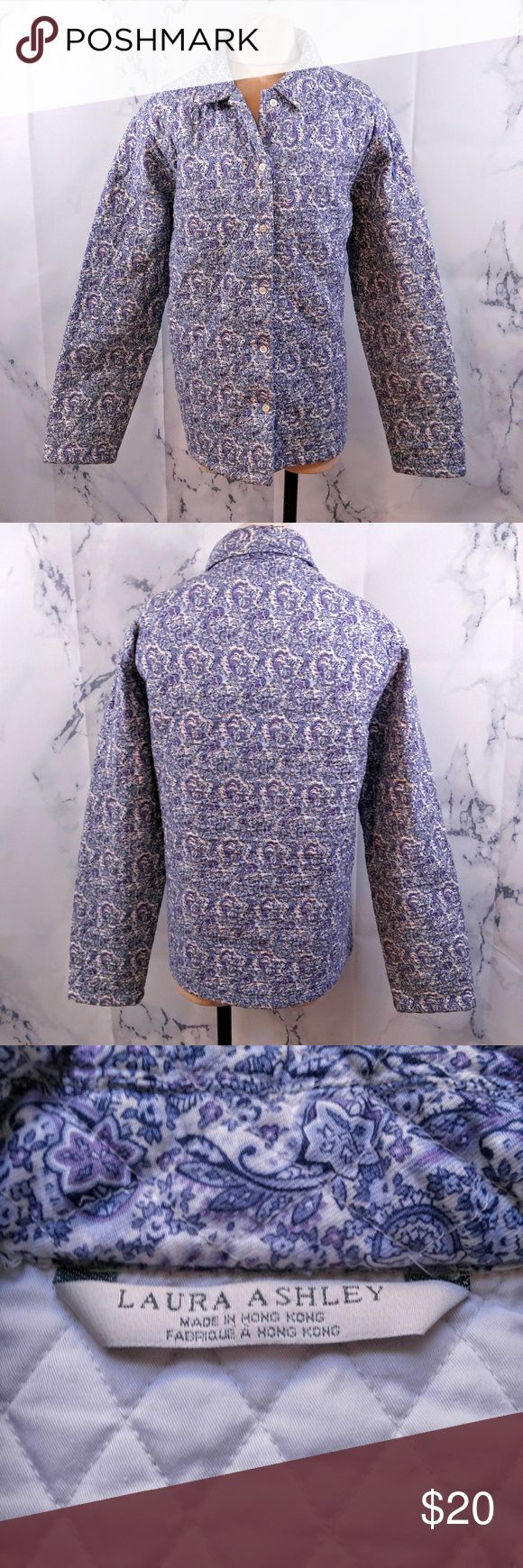 """Laura Ashley Blue and Purple Floral Quilted Jacket Laura Ashley Blue and Purple Floral Quilted 100% Cotton Jacket Materials: 100% Cotton Size: XL Measurements Laid Flat Bust: 24"""" Length: 27"""" Feel free to ask any questions, I can get back to you within 24 hours. Laura Ashley Jackets & Coats"""