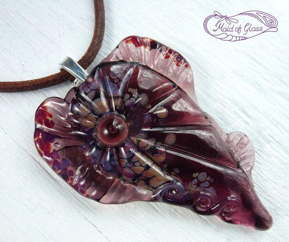 mermaid heart ~ purple lampwork glass pendant ~ handmade by MaidOfGlassOnEtsy