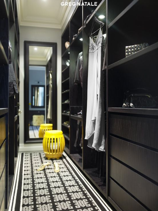 Greg Natale - closets - walk-in, black, built-ins, black, geometric, runner, yellow, stool, black, beveled, mirror,  Chic glossy black walk-in. dressing room