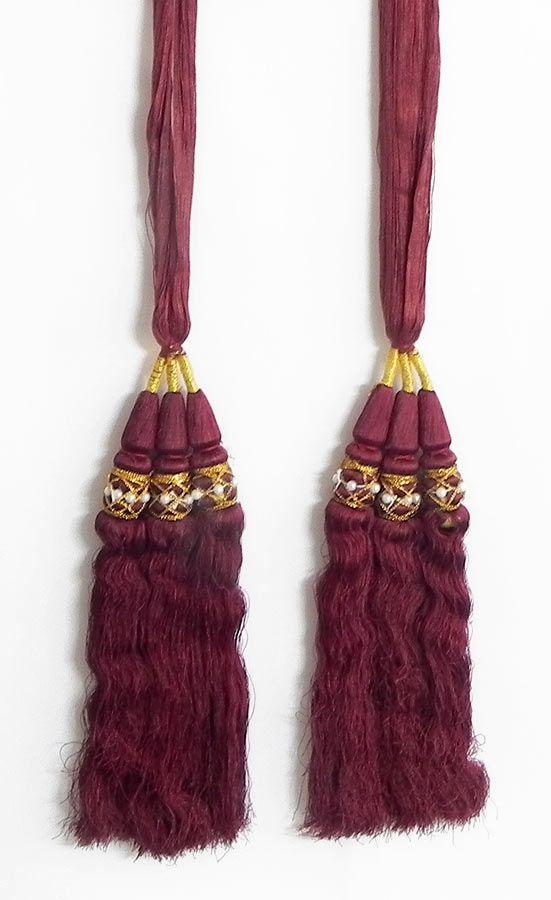 A Pair of Parandi - For Hair Braids with Maroon Tassels (Thread)