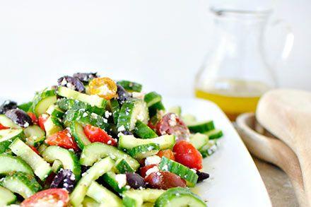 Simply Organic Easy Grilled Cucumber Tomato Feta Salad Recipe Prep