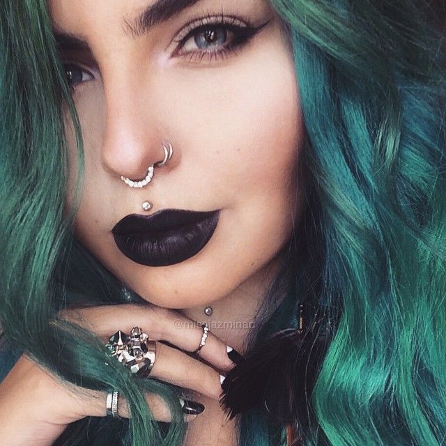 I like this girls hair face makeup and jewllery except the septum I prefer horseshoe ones....
