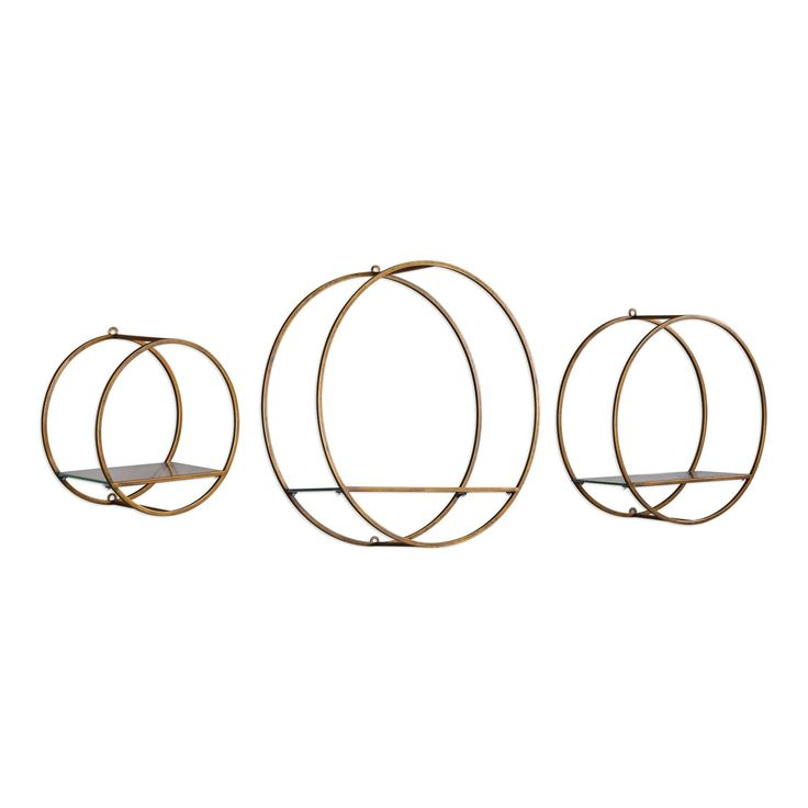 Ellison Drum Cage Bronze Glass Wall Shelves - Set of 3 by Uttermost