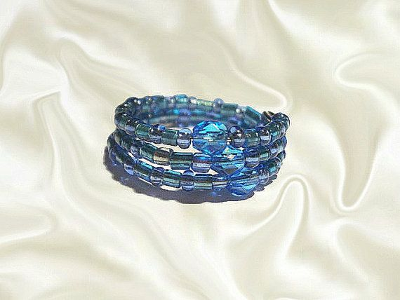 Blue Beaded Ring  Wrapped Rings  Memory Wire by GlamorousSparkle