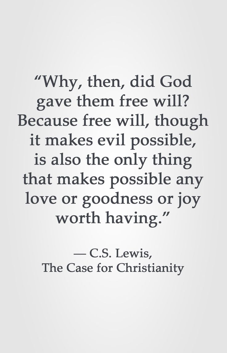 """""""Why then, did God gave them free will? Because free will, though it makes evil possible, is also the only thing that makes possible any love or goodness or joy worth having."""" -C.S. Lewis, The Case for Christianity"""
