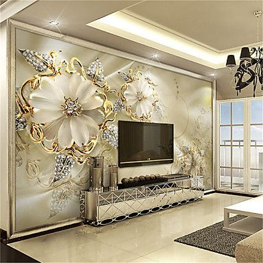 JAMMORY White Jade Carving Large Flower Decor 3D Fashion Wallpaper Personality Wallpaper Mural Wall Covering Canvas Material Golden Church- Love this MURAL.. great for bedroom or dining room