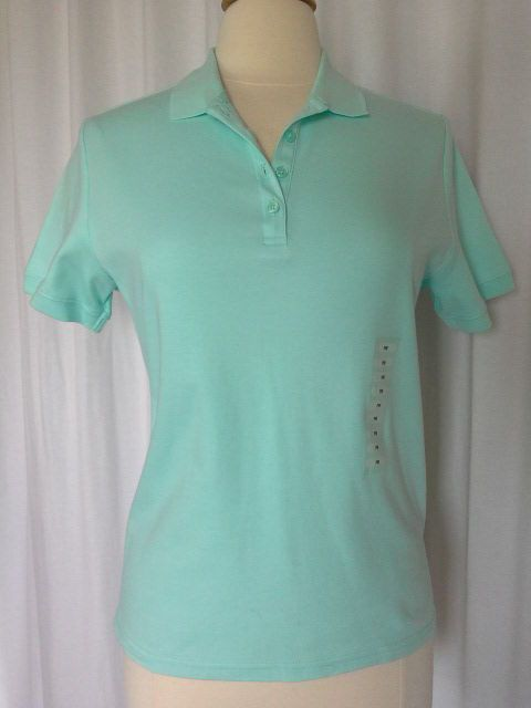 SIZE PM - NWT $38.00 STUDIO WORKS Polo Style Mint Green Shirt Pullover Top  #StudioWorks #PoloShirt #CareerCasualClubwear