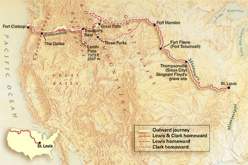 Map of Lewis and Clark trail, connected with Lewis and Clark movie, lesson plans and activities included.
