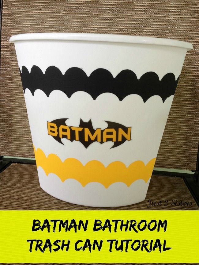 Batman Bathroom Trash Can Tutorial - Just 2 Sisters DIY Crafts sponsored