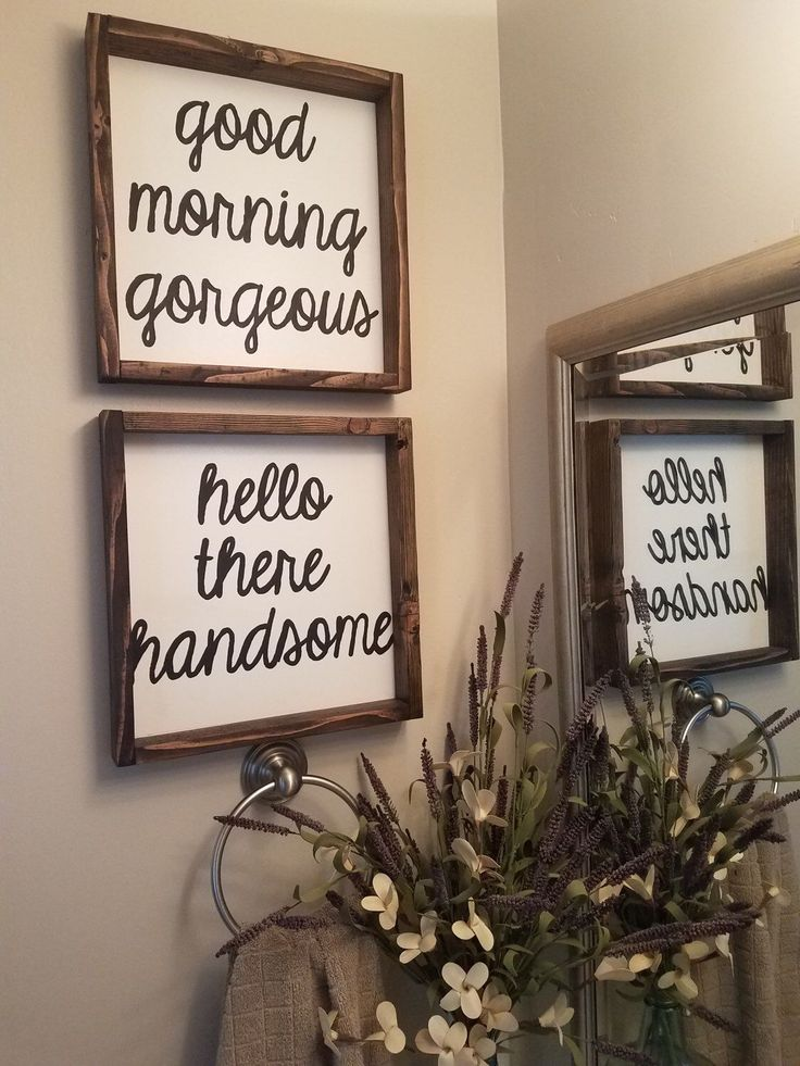 Good morning gorgeous, hello there handsome wood signs, set of farmhouse matching signs, wedding, anniversary, home decor by TheRustedCarriage on Etsy https://www.etsy.com/listing/498376146/good-morning-gorgeous-hello-there