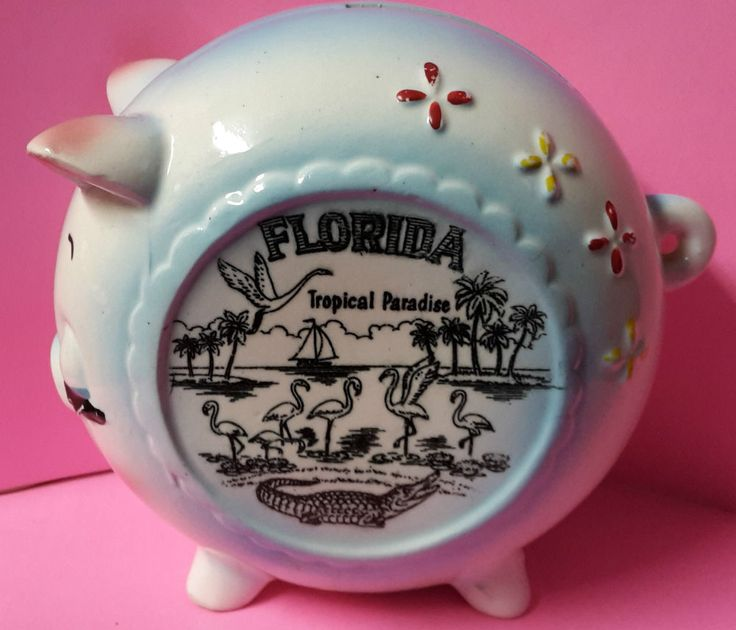Vintage Piggy Bank Florida Souvenir Retro Tropical Paradise  AB4B