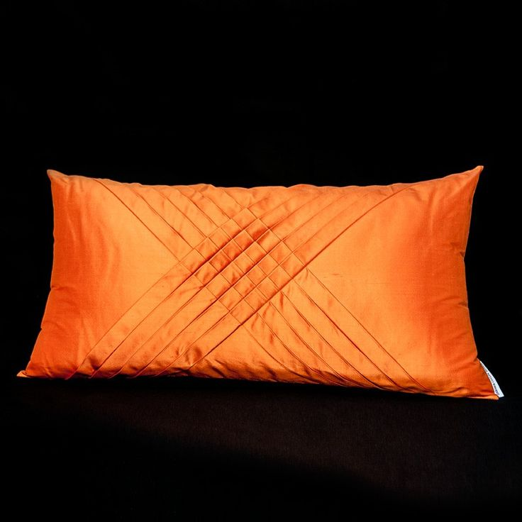 CUSHION 100% SILK 60x35 ORANGE WITH PLEATS via DARAM COLLIN DESIGN. Click on the image to see more!