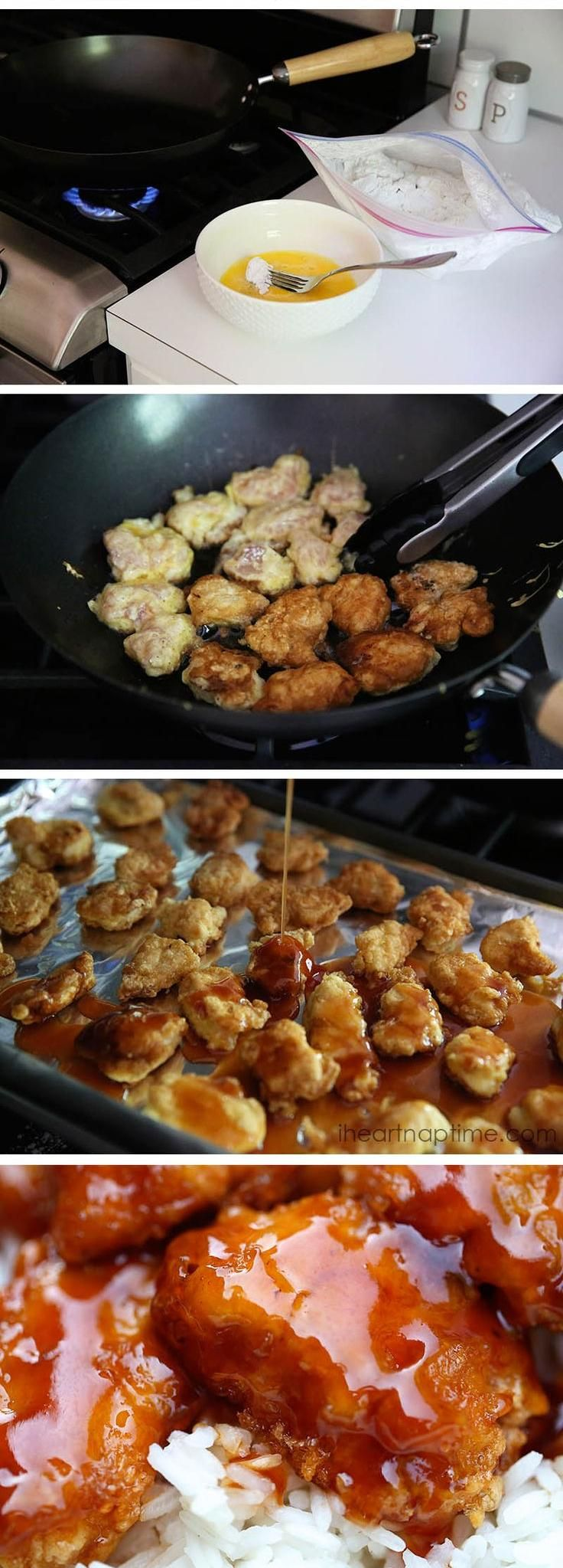 Sweet and sour chicken recipe {Emily note: this tasted almost exactly what you would order from Chinese take out!! The only change I will make next time is just whipping up extra sweet and sour sauce, which would be easy to do!}