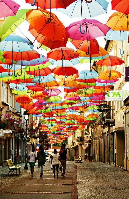 (The flying umbrellas of Agueda, Portugal)