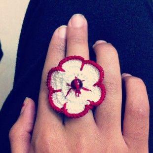 Innshoppe. Buy Crochet Red Rose Ring. Buy crochet handmade rings online in India